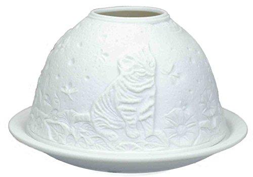 Himmlische Düfte Geschenkartikel DL0049 Kätzchen Windlicht Porzellan 12 x 12 x 8 cm, weiß - 2