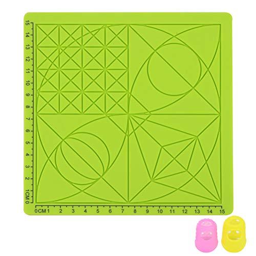 Yardwe 3D-Druckstift-Silikonmatte Kinder Zeichnungsvorlage Pad mit 2 Stück zufälliger Farbe Fingerabdeckungen - Typ C (grün)