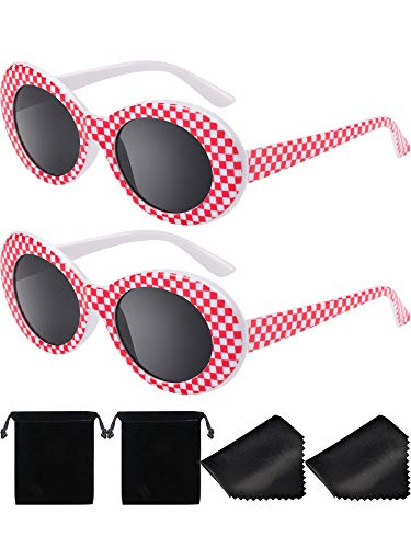 2 Paare Dicker Rahmen Kurt Cobain Brille Schlagkraft Oval Runde Mod Brille Retro Sonnenbrille mit 2 Linse Tuch 2 Brillen Tasche (Rot Weiß Plaid)