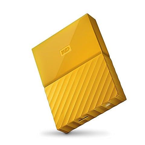 mobile 4 TB-Festplatte WD My Passport WDBYFT0040BYL-WESN (gelb), mit Kennwortschutz u. Software für autom.