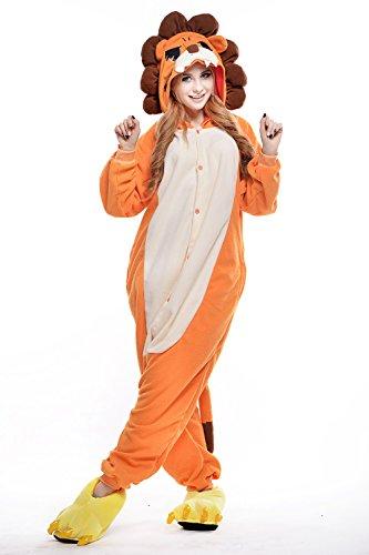 dressfan Unisex Adult Kinder Tier Pajamas Lion Cosplay Kostüm Orange
