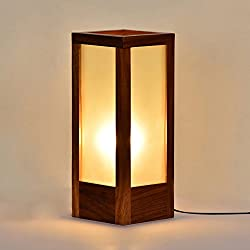 ExclusiveLane 10 Inch Decorative Dazzling Unique Modern Frosted Glass Lamp In Sheesham Wood - Gift item / Table Lamp / Night Lamp / Home Decor / Lights / Electric Lamp