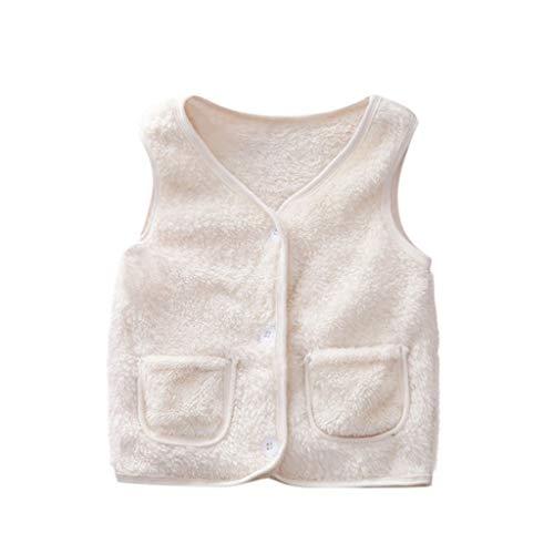 Livoral Mädchen Winter warme einfarbige Jacke Kleinkind Baby Kind Junge Mantel Kleidung Weste(Weiß,3-4 Jahre)
