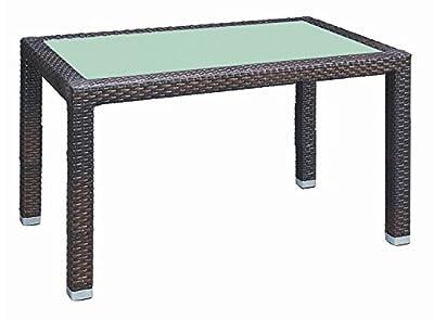 Rattan Glas Gartentisch Panama 120x80 cm Gartenmöbel Garten Tisch Lederlook
