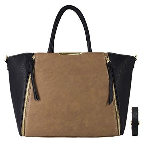 CRAZYCHIC - Damen Handtasche mit Gold Reißverschluss - Leder Imitat Henkeltasche - Große Tasche für Arbeit Schule Laptop Studenten - Mode Aktentasche Schultasche - Large Tote Shopper - Taupe Braun (Stilvolle Laptop-taschen Damen)
