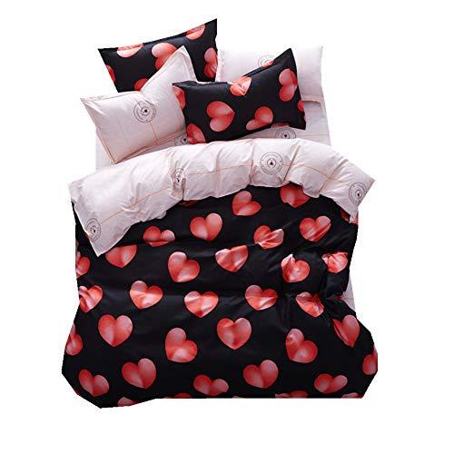 Sticker superb 220 x 240cm natale lusso set copripiumino rosso cuore con cuscino sham e foglio set copripiumino (rosso cuore, 220 x 240cm for 1.8m bed)