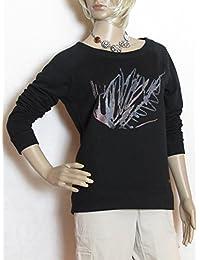 Coffetime-Damen Rundhals Chiffon Bluse Shirt Tops
