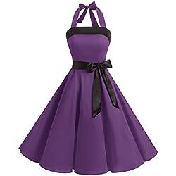 Timormode 10212 Vestido De Vintage 50s Cuello Halter Elegante Mujer Violeta S