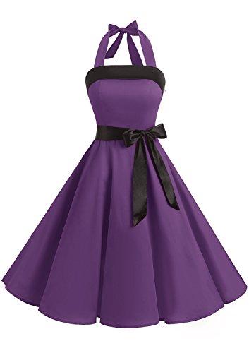 Timormode Vestido fiesta mujer 1950s Scoop Vintage Mujer faldas negras de vuelo falda globo vestido de noche largo Mujer falda blanca corta faldas de tul 10212Purple S