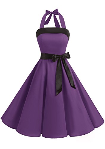 Timormode 10212 Damen Vintage Kleid 1950 Neckholder Cocktailkleid Faltenrock Partykleid S Violett