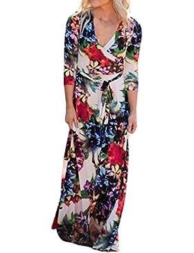 Sannysis Damen Blumen Langes Maxi Kleid Halbe Hülse Abend Party Sommer Strand Sundress