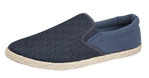 Mens Slip On Canvas Boys Espadrilles Pumps Plimsolls Trainers Shoes Sizes 7-12 (UK 8 / 42, Navy)