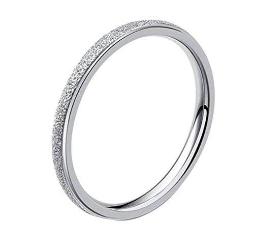 Alextina donne acciaio inossidabile 2mm magro all'eternità anello fede cupola finire argento tono dimensione 17