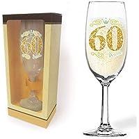 Partycolarità Flute Champagne 60 ans Glitter – Flute Brindisi en verre – Verre à champagne – Gadget pour fête d…