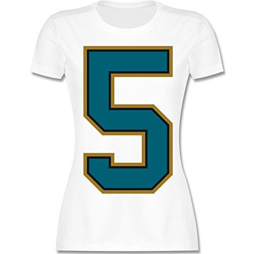 American Football - Football Jacksonville 5 - XXL - Weiß - L191 - Damen T-Shirt Rundhals (Damen Jaguars-football-t-shirt Weißen)