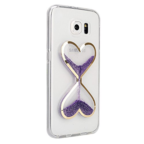Für Samsung Galaxy S6 Edge Hülle,Galaxy S6 Edge Hülle Bling Glitzer Kristall Strass Diamant Spiegel Hülle,EMAXELERS Galaxy S6 Edge Case Cute Lovely Bär Ring Holder Weich TPU,Galaxy S6 Edge Hülle Silik S Hourglass 8