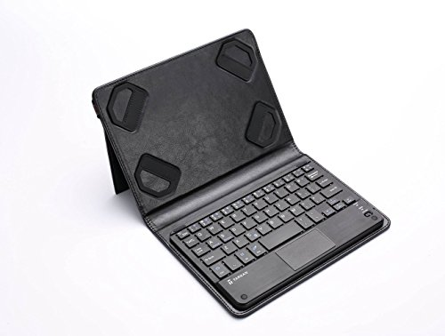 Tarkan Multi OS (Windows / Android) Bluetooth Magnetic Keyboard with Touch TrackPad and Universal Stand Tablet Flip Case Cover For All 7 - 8 inch Tab