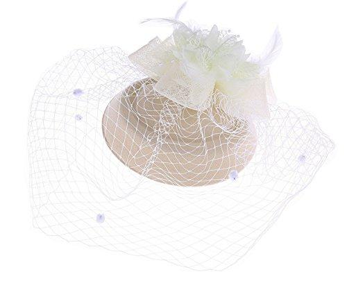 Kate Hat Middleton (Fascinator Hut Pillbox Hut Britischer Bowler Hut Blumen Schleier Hochzeits Hut Tee Party Hut (Beige))
