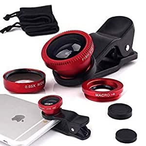 Ceuta Retails Universal Clip-On 3 in 1 Mobile Cell Phone Camera Lens Kit 180 Degree Fisheye Lens + 0.67X Wide Angle + 10X Macro Lens