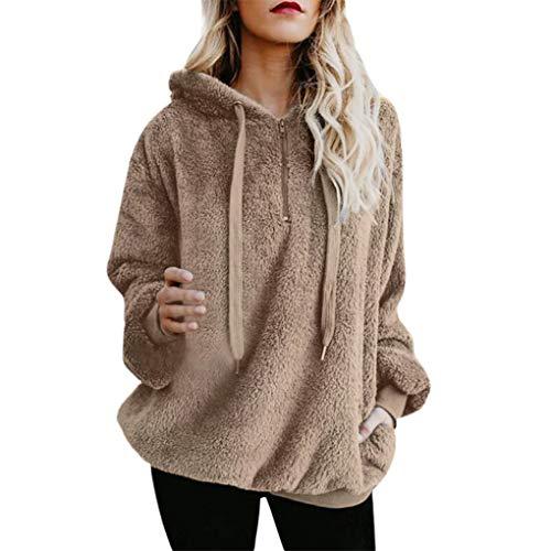 Dorical Damen Herbst Winter Kapuzenpullover Bequem Lässig Mode Jacke Frauen Mode Frauen Coat Outwear Mantel Flauschige Tops Mit Kapuze Taschen Lose Mantel Gr S-5XL(Z03-Khaki,XXX-Large)