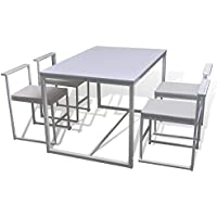 vidaXL Set tavolo da pranzo 1 4 sedie Bianco
