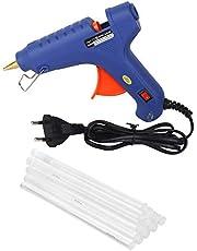 W WADRO - 100 Watt Fiber Hot Melt Glue Gun Electronic PTC Heating Technology for DIY & Craft Work (Blue)(10 BIG Glue Sticks)