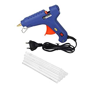 W WADRO - 100 Watt Fiber Hot Melt Glue Gun Electronic PTC Heating Technology for DIY & Craft Work (Blue)(10 BIG Glue Sticks)