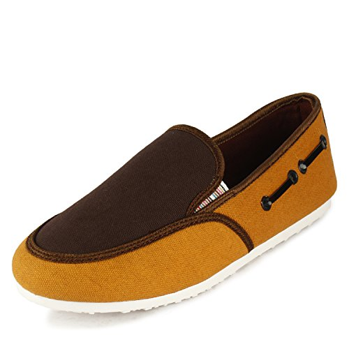 Globalite Women's Casual Shoes Candy Brown and Yellow Canvas Shoes-5  available at amazon for Rs.199