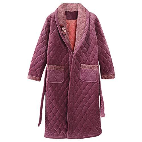 DUJX Nachthemd Weiblich Winter Plus Lange Beibei Pyjamas Dreilagig Gesteppt Plus Samt Verdickung Damen Home Service Bademantel Herbst Und Winter Modelle
