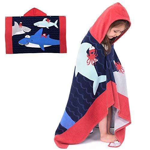 puzenhandtuch Badetuch Bademantel Baumwolle Musselin Strandtuch für Schwimmen Mädchen Jungen Baby Weich Warm Trocknend Cartoon (Haie Party) ()