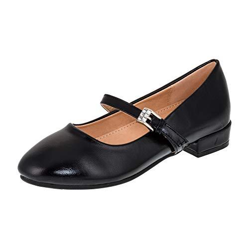 Dorémi Festliche Mädchen Ballerinas Schuhe mit Schnalle für Hochzeit Kommunion Feier M480sw Schwarz 35 EU