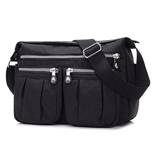 - 41r8Ja8gDZL - Women's Nylon Casual Shoulder Bag Crossbody Bags Casual Messenger Bags Handbag (Black)