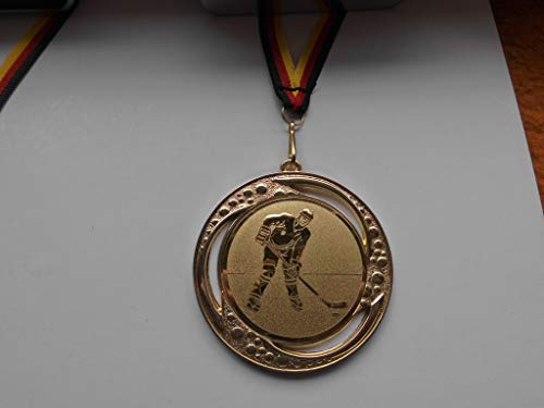 Fanshop Lünen 10 Stück Medaillen - Große Metall 70mm - mit Alu Emblem 50mm, (Gold) - Eishockey - Kinder - Herren - Turnier - mit Medaillen-Band - (e259) -