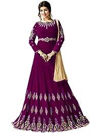 Kings Fashion Bazaar Women Georgette Anarkali Semi-Stitched Salwar Suit (GATMPU11085_Pink_Free Size)