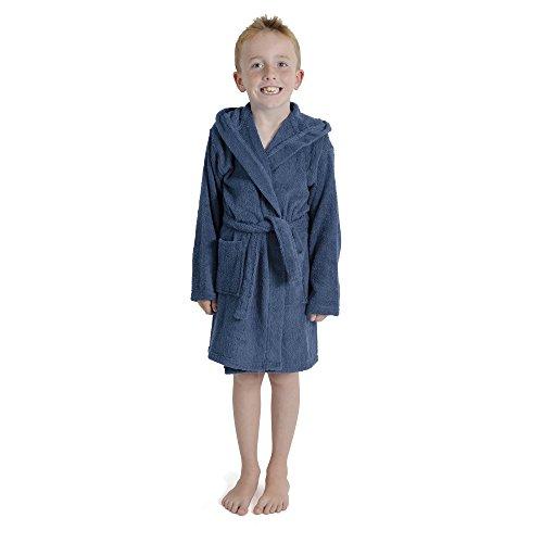 CityComfort Toalla para niños, niños, niñas, niñas, niñas, con capucha, toallero, albornoz, 100% algodón, toalla, tocador, bata, toallero, suave, salón, desgaste, 7-13 años (9-10 años, azul marino)