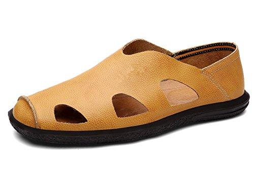 Le scarpe di cuoio pelle nuova estate sandali uomini vuoti sandali uomini di mezza età 2