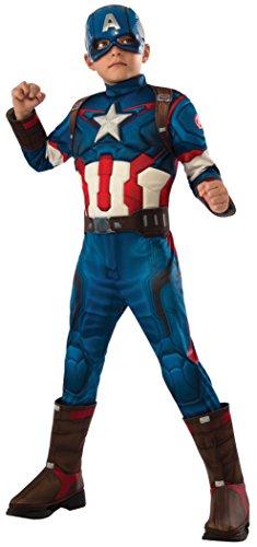 Flash Deluxe Kostüm Kinder - Rubie's Captain America Deluxe Kostüm für Kinder Avengers 2 , Größe:L