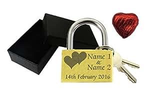 Love Lock Cadenas 40 mm en forme de cœur avec gravure personnalisée &Chocolat-Coffret cadeau anniversaire