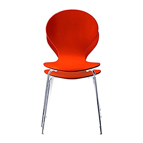Set of 2 Red and Chrome Metal Keeler Style Stackable Dining Chairs - Kitchen Cafe Bistro Stacking Chairs by Your Price Furniture