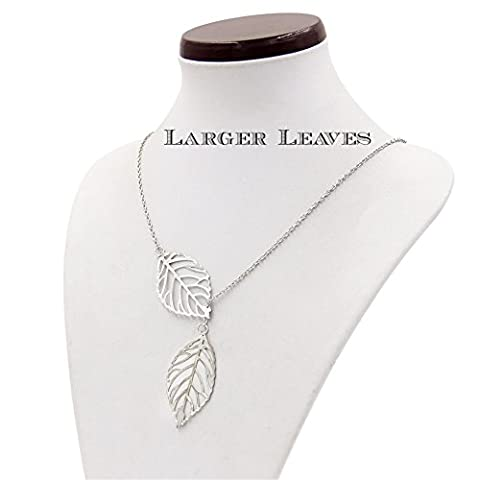 Buy any 2 & get 1 FREE! LARGER Silver Double Leaf Pendant Unique Fashion Jewellery Necklace Diamond 2 Leaves Jewellery Vintage Hot Fashion Trend Ladies Jewelry Style Silver Pendant Necklace Diamond Jewellery Vintage Hot Fashion Trend Ladies Jewelry (LARGER Silver Leaf)