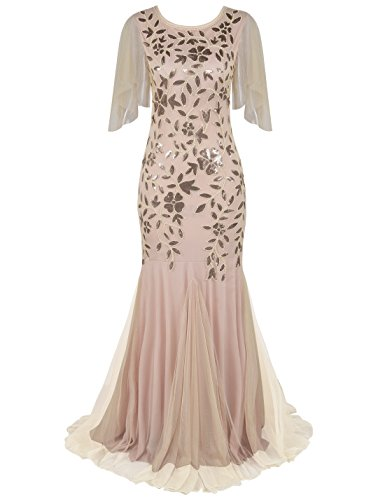 PrettyGuide Damen Abendkleid 1920er Pailletten-Deko Meerjungfrau Hem Maxi lang Ballkleid Champagner...