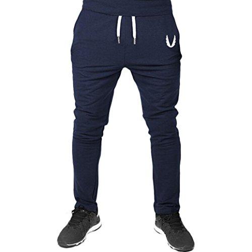 Hombre Pantalón Ropa Deportiva Para Hombres Pantalones de Gimnasia Elásticos Ocasionales del Ejercicio de La Aptitud Que Entrena el Funcionamiento Xinan (L, ❤️Azul Real)