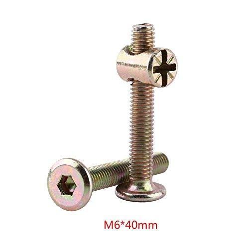 10 stücke M6 Kohlenstoffstahl Möbelschrauben Mit Zylindermuttern Zylindermutter Verbindungselement Zubehör Langlebig und Rostfrei(40mm)
