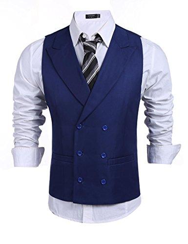 Coofandy Herren Anzugweste Business stilvoll Zweireiher Anzug Weste Slim fit V-Ausschnit Weste Basic Geschäftsweste Navy blau XXL (Drei-tasten-anzug Mit Einreiher)