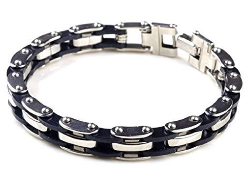 EVRYLON Armband Stahl Kette für Herren Silikon Motorrad Geschenk Mädchen -