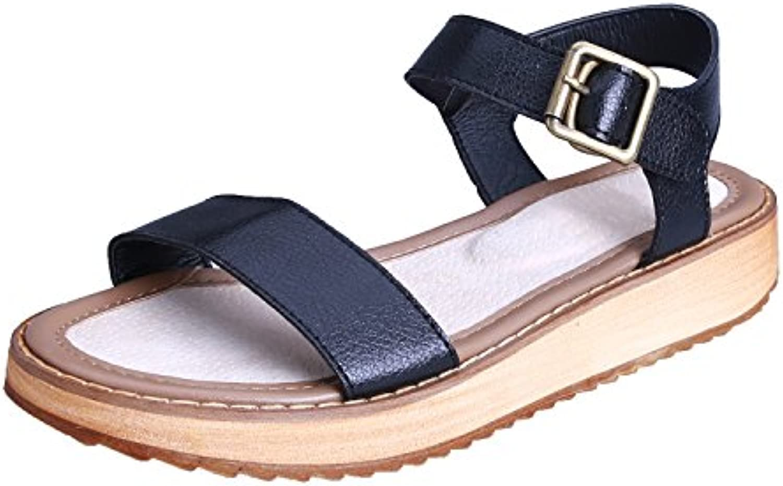 Smilun Smilun Smilun Lady's Sandals Toe Strap Metal Buckle Flip Flop Thongs Sandal Smooth Leather 79e99d