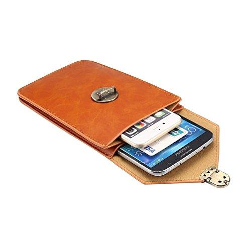 Wkae Case Cover 5,7-Zoll-Universal-Modische Vertikale Crazy Horse Textur drei Schichten Multifunktions-Ledertasche / Gürteltasche für iPhone 6 Plus &6S Plus Samsung Galaxy S7 Rand / G935 &S6 Rand + /  braun