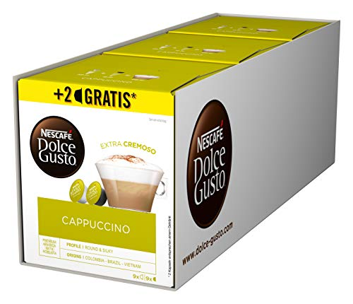 NESCAFÉ Dolce Gusto Cappuccino 54 Kaffeekapseln (Arabica und Robusta Bohnen, Vollmundiger Kaffee und lockerer Milchschaum, Aromaversiegelte Kapseln) 3er Pack (3 x 16 + 2 Kapseln)