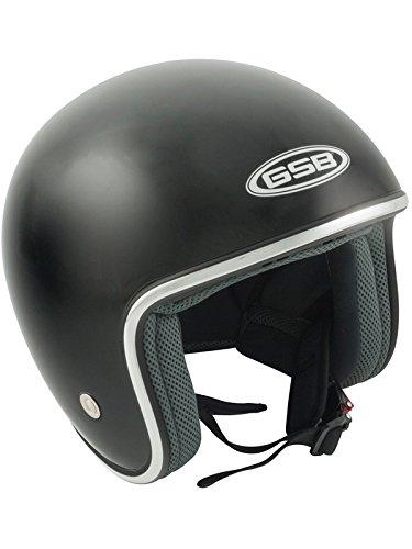 Gsb Motorrad-Jethelm 2017 G-234 Gloss Schwarz (Medium , Schwarz) -