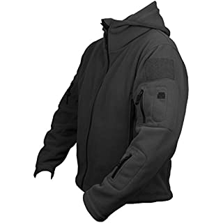 Mens Tactical Military Army Combat US British Fleece Recon Hoodie Jacket Security Police Smock Large Black